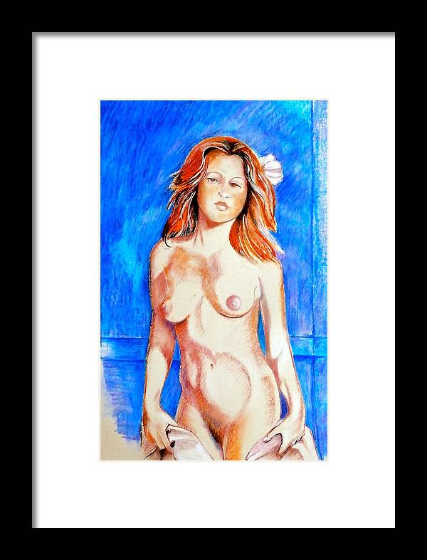 Nude Framed Print featuring the drawing Life Drawing by Susan Robinson