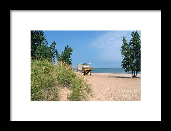 Landscape Framed Print featuring the photograph Life Guard Station by Cedric Hampton