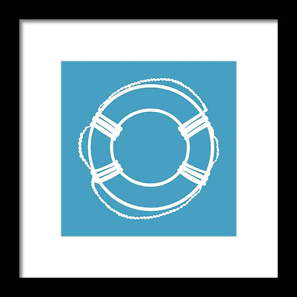 Graphic Art Framed Print featuring the digital art Life Preserver In White And Turquoise Blue by Jackie Farnsworth