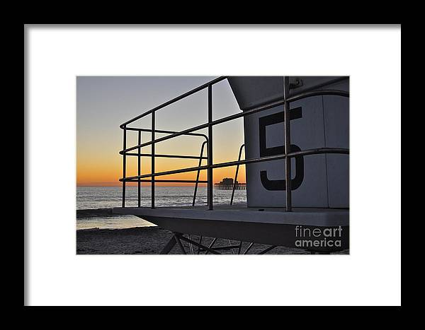 Oceanside Framed Print featuring the photograph Lifeguard Tower 5 by Bridgette Gomes