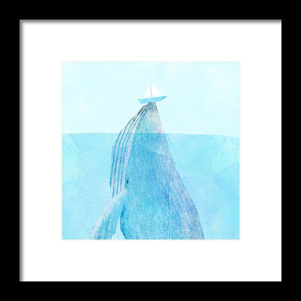 Whale Framed Print featuring the drawing Lift by Eric Fan