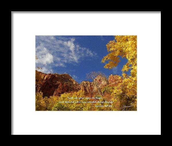 Inspirational Framed Print featuring the painting Lift Up Your Eyes by Bruce Nutting