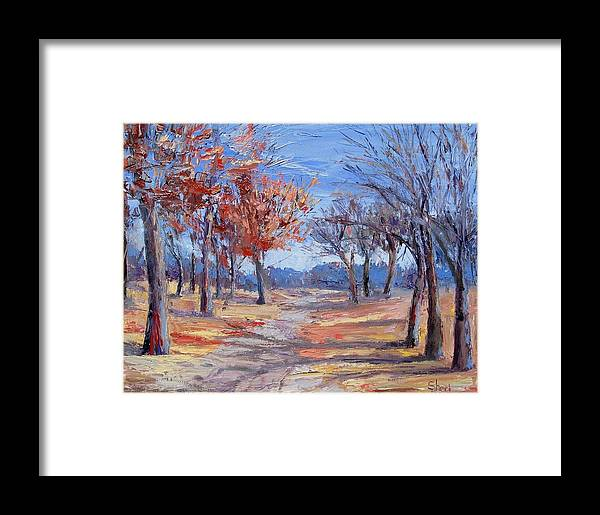 Sheri Jones Framed Print featuring the painting Light Along The Path by Sheri Jones