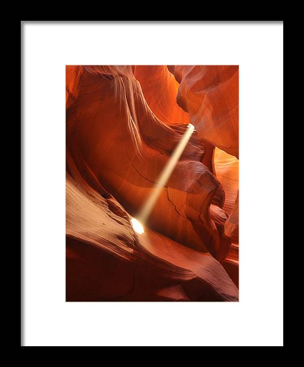 Landscape Framed Print featuring the photograph Light Beam In Canyon by Nian Chen
