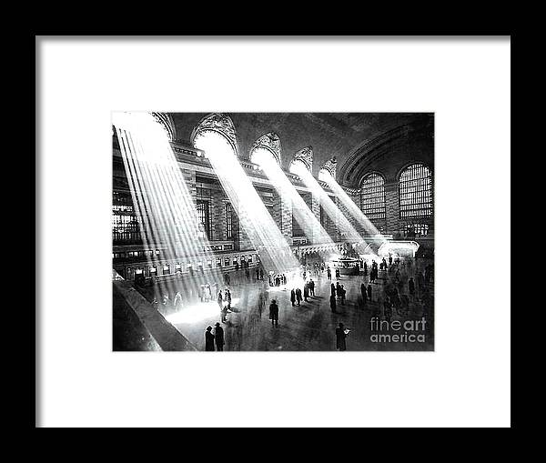Light Beams Grand Central Station 1929 Framed Print By Merton Allen