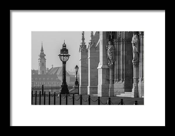 Budapest Parliament Framed Print featuring the photograph Light Feature At Hu Parliament by Judith Barath
