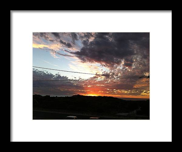 Landscape Framed Print featuring the pyrography Light by Iris Elhanani