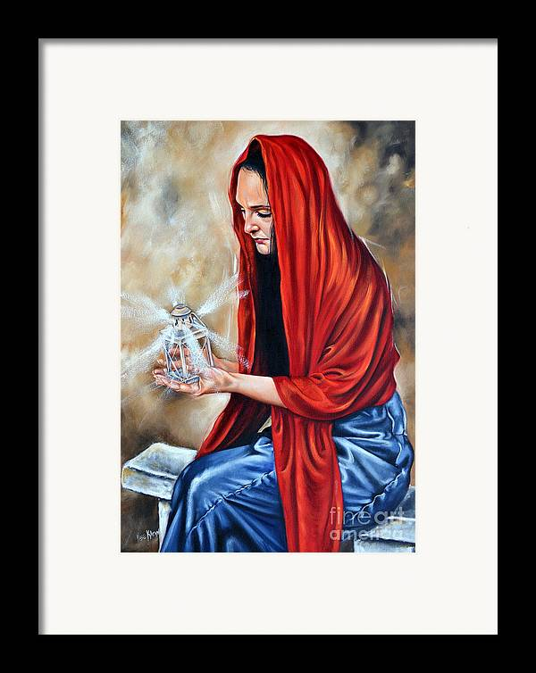 Woman Framed Print featuring the painting Light My Candle by Ilse Kleyn