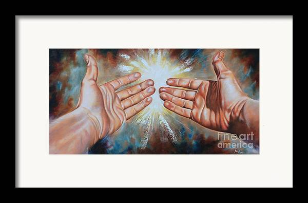 Hands Framed Print featuring the painting Light Of This World by Ilse Kleyn