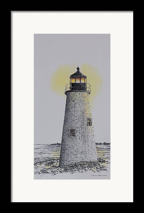 New England Lighthouse Seascape Landscape Pen & Ink Watercolor Coastline Connecticut Framed Print featuring the painting Light On The Sound by Tony Ruggiero