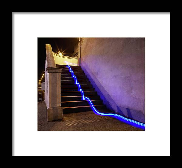 Steps Framed Print featuring the photograph Light Trail On Steps by Tim Robberts