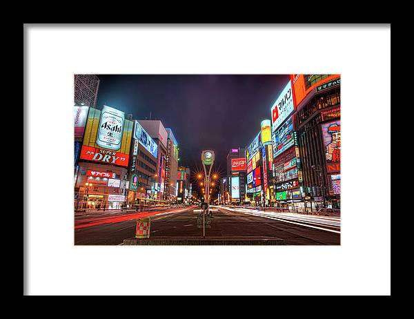 Hokkaido Framed Print featuring the photograph Light Trails In Susukino by Daniel Chui