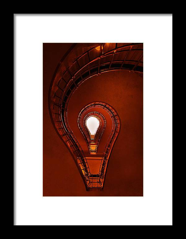 Architecture Framed Print featuring the photograph Lightbulb Staircase by Jaroslaw Blaminsky