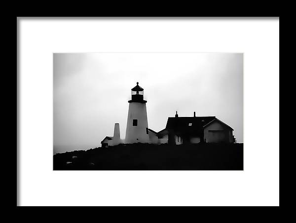 Framed Print featuring the digital art Lighthouse In Silhouette by Cathy Anderson