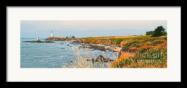 Lighthouse Framed Print featuring the painting Lighthouse In Summer by Artist and Photographer Laura Wrede