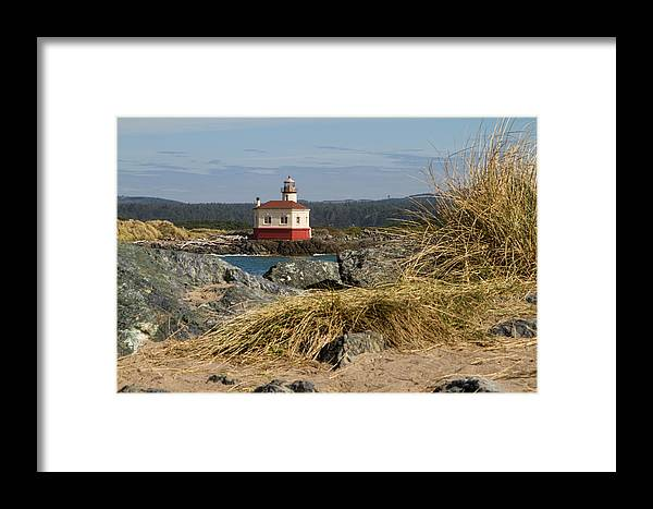 Bandon Oregon Framed Print featuring the photograph Lighthouse Over The Dunes by Lindley Johnson