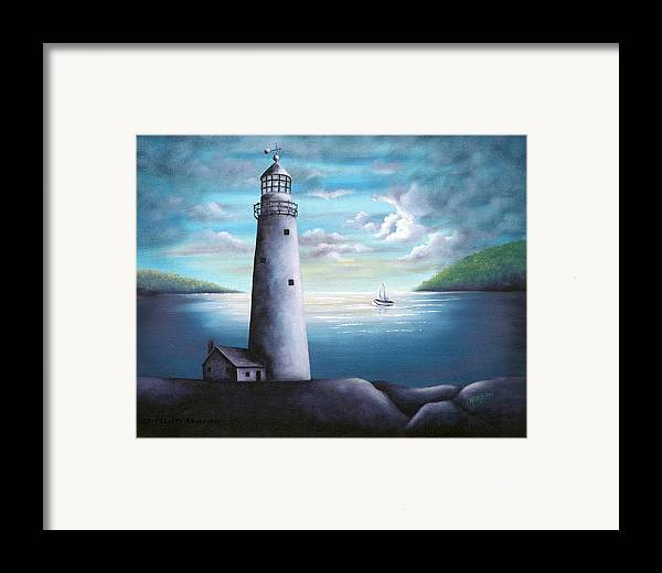 Oil Framed Print featuring the painting Lighthouse by Ruth Bares