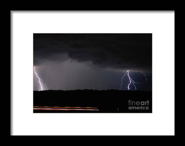 Lightning Framed Print featuring the photograph Lightning And Train by Tom Williams