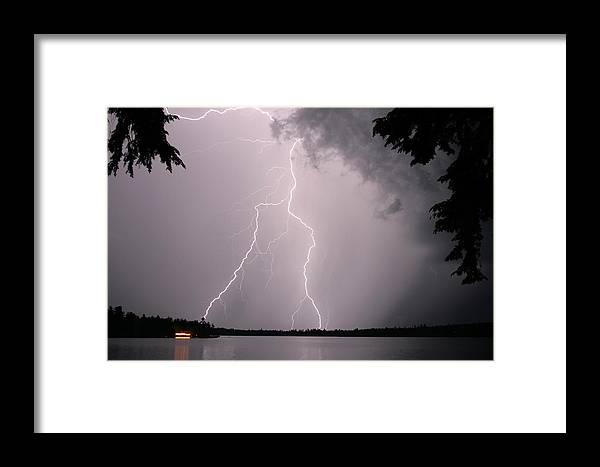 Lightning Framed Print featuring the photograph Lightning At The Lake by Barbara West