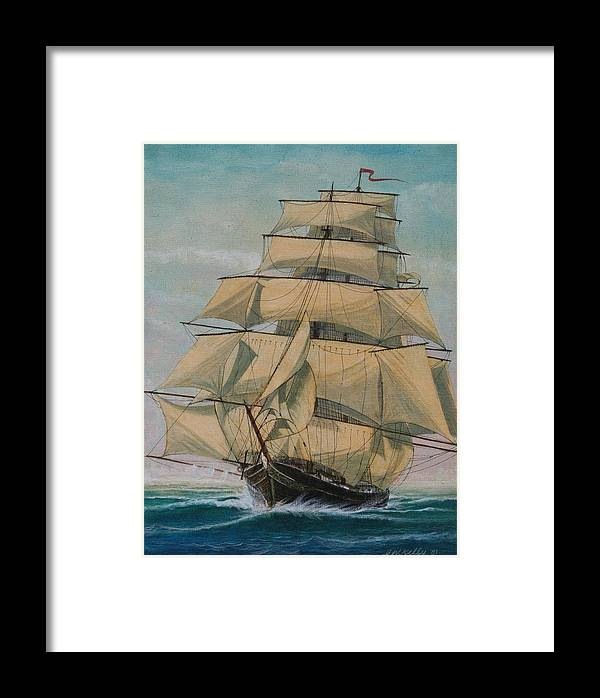 Seascape Of Old Time Sailing Ship Framed Print featuring the painting Lightning by J W Kelly