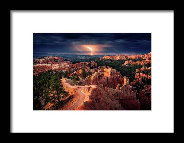 Landscape Framed Print featuring the photograph Lightning Over Bryce Canyon by Stefan Mitterwallner