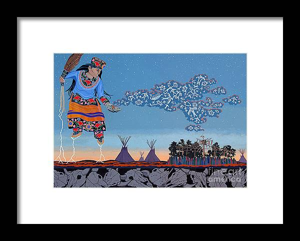 America Framed Print featuring the painting Lightning Walker by Chholing Taha