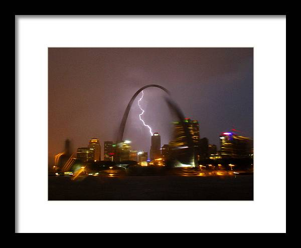 St Louis Framed Print featuring the photograph Lightning With The St Louis Arch by Garry McMichael