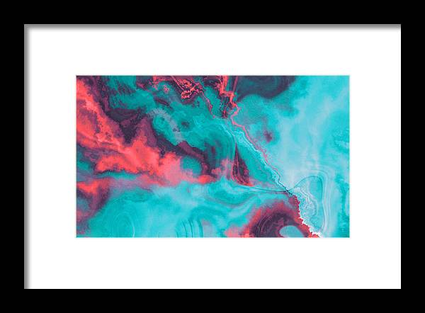 Art Framed Print featuring the photograph Liguid watercolor and ink abstract colored painting by Oxygen