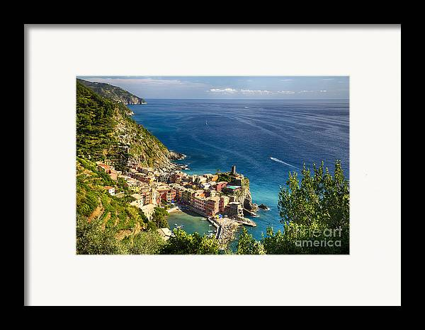 Cinque Terre Framed Print featuring the photograph Ligurian Coast View At Vernazza by George Oze