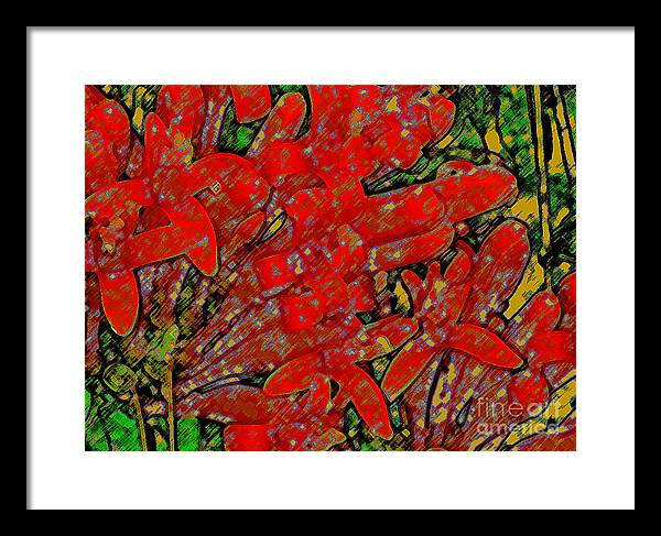 Orange Trumpet Vine Framed Print featuring the photograph Like Golden Trumpets by James Temple