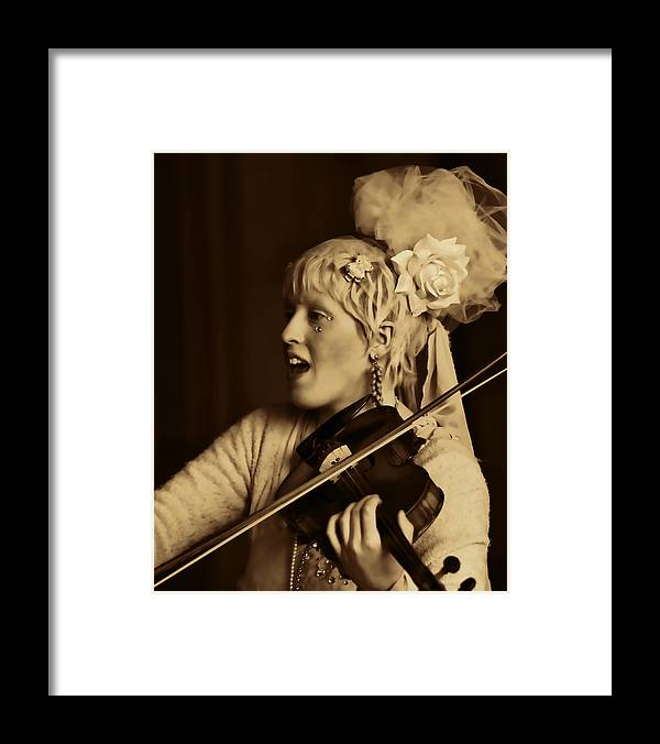 Woman Violinist Lila Angelique Tribal Baroque Framed Print featuring the photograph Lila Angelique Trois by Alice Gipson