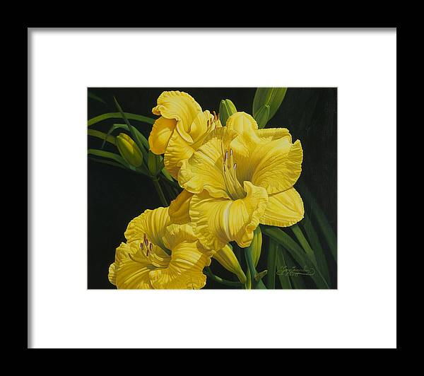 Floral Framed Print featuring the painting Lilies for Olivia Rose by Gary Hernandez