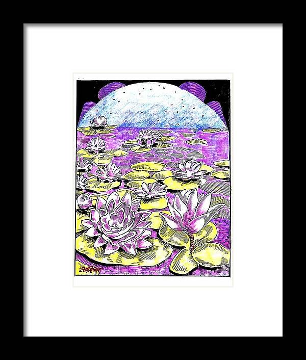 Lilies Of The Lake Framed Print featuring the drawing Lilies of the Lake by Seth Weaver