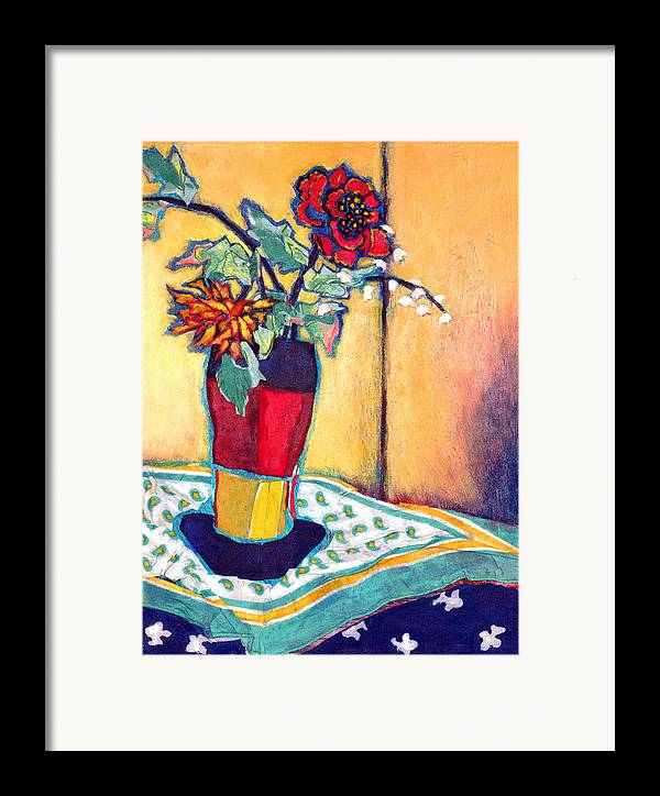 Flowers In A Vase Framed Print featuring the mixed media Lilies Of The Valley by Diane Fine
