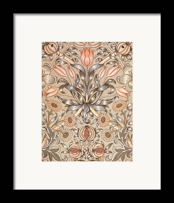 Lily And Pomegranate Wallpaper Design Framed Print by ...