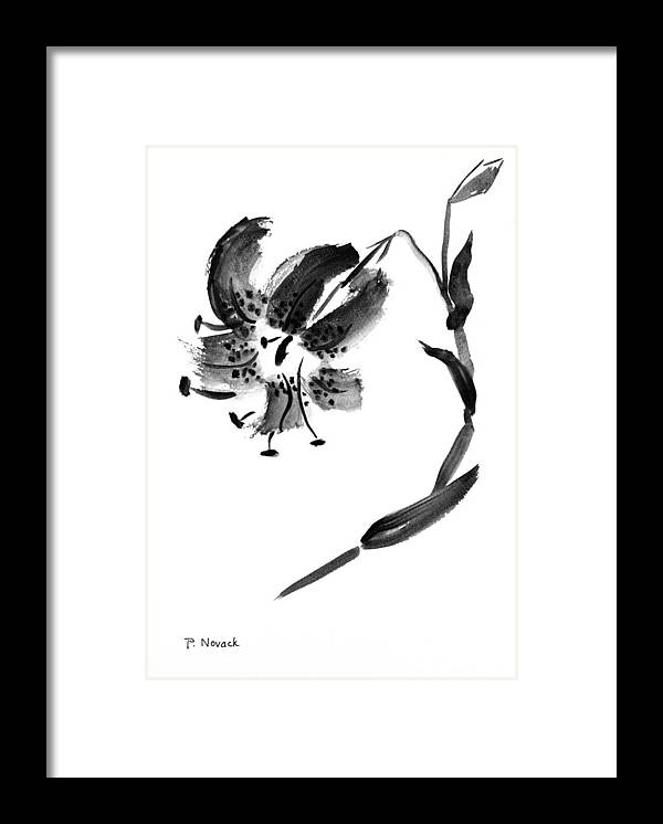Lily Framed Print featuring the painting Lily In Black by Patricia Novack