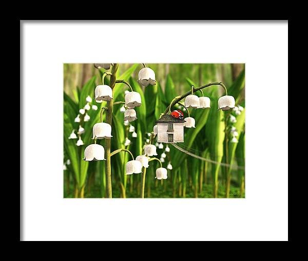 Spring Framed Print featuring the digital art Lily of the Valley by Cynthia Decker