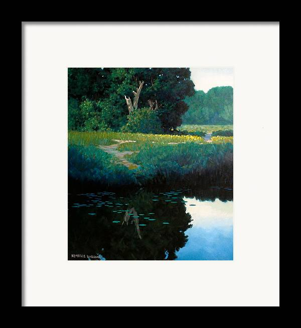 Landscape Framed Print featuring the painting Lily Pads by Kevin Lawrence Leveque