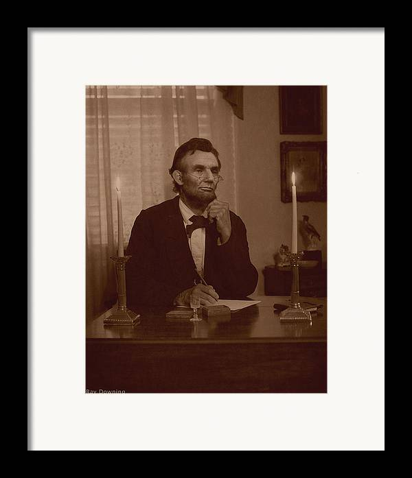 Abraham Lincoln Framed Print featuring the digital art Lincoln At His Desk by Ray Downing