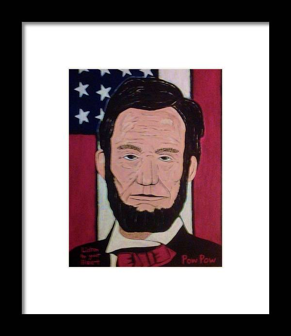 Lincoln.flag.stars And Stripes.patriotic Framed Print featuring the painting Lincoln by Bobby Moss