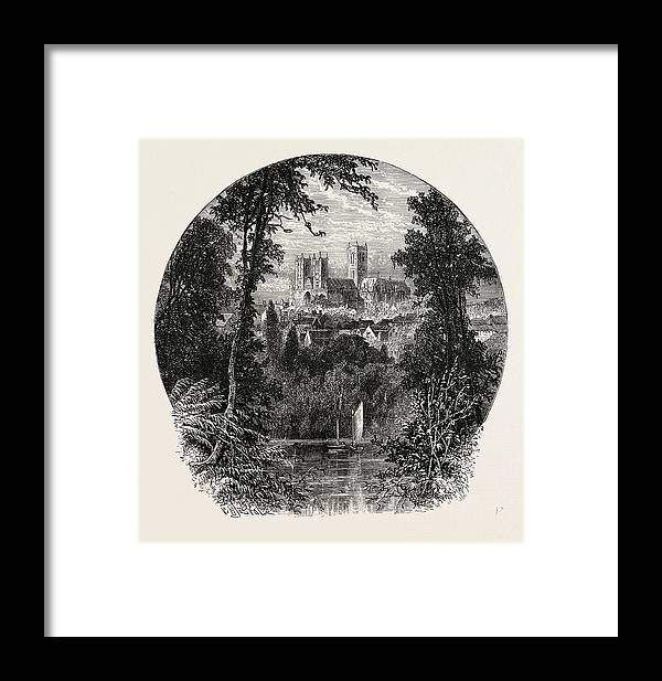 Lincoln Framed Print featuring the drawing Lincoln Cathedral, From The South-west by English School