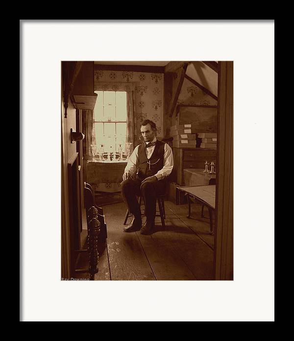 Abraham Lincoln Framed Print featuring the digital art Lincoln In The Attic by Ray Downing