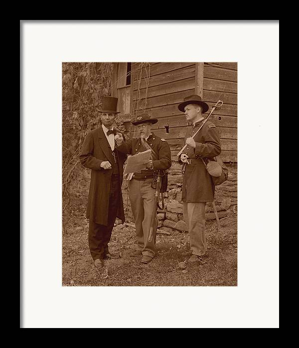 Abraham Lincoln Framed Print featuring the digital art Lincoln In The Field by Ray Downing