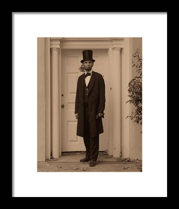 Abraham Lincoln Framed Print featuring the digital art Lincoln Leaving A Building by Ray Downing