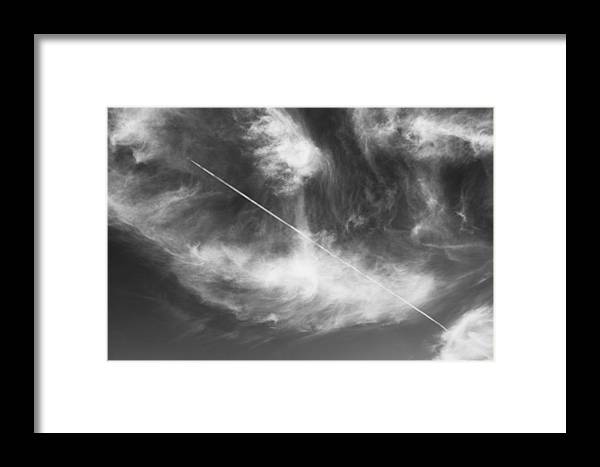 Vapour Trail Framed Print featuring the photograph Line In The Skies by Pierre Roux