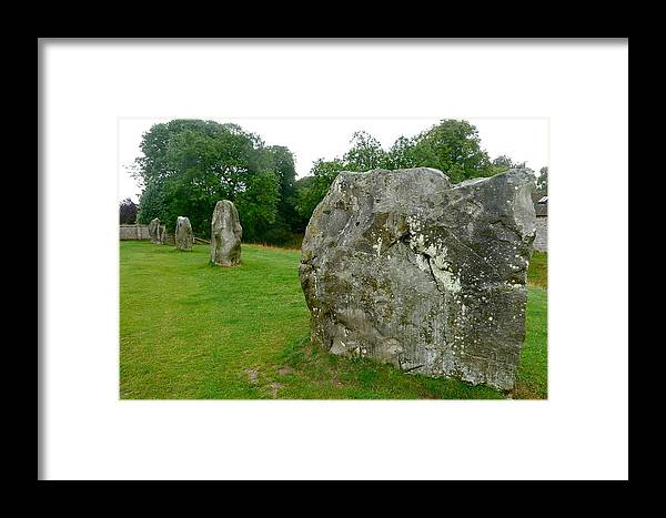 Avebury Framed Print featuring the photograph Line Of Avebury Stones by Denise Mazzocco