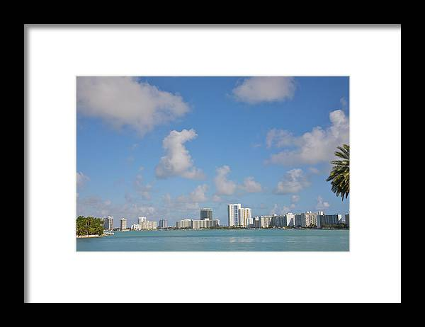Residential District Framed Print featuring the photograph Line Of White Residential Towers Above by Barry Winiker