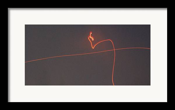 Fireworks Framed Print featuring the photograph Linear Abstract Fireworks by Jani Freimann