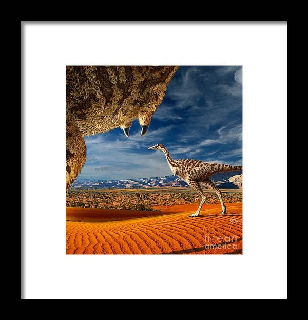 Dinosaur Digital Art Framed Print featuring the digital art Linhenykus by Julius Csotonyi