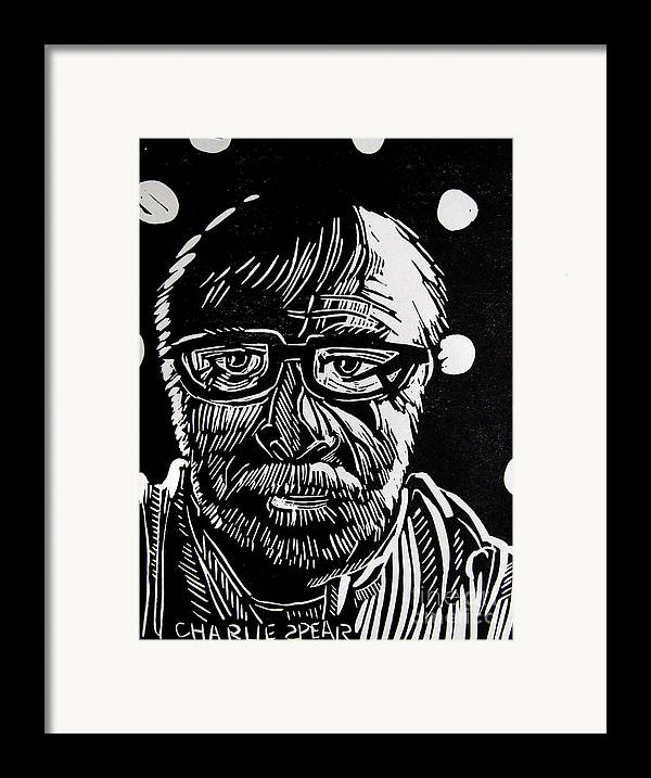 Auto-portrait Framed Print featuring the drawing Lino Cut Charlie Spear by Charlie Spear